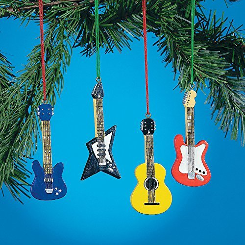 Set of 4 GUITAR ORNAMENTS BASS Electric ACCOUSTIC styles ()