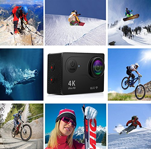 Action Camera 4K Wi-Fi 16MP Full HD 1080P Waterproof Cam with SONY Sensor Waterproof up to 30m