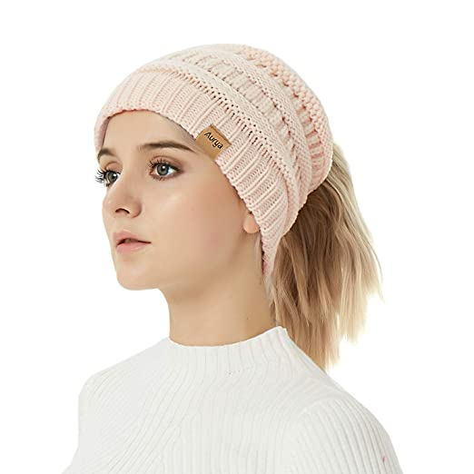 59adafb552c Image Unavailable. Image not available for. Color  Aurya Cable Knit Ponytail  Messy Bun Beanie Womens Trendy Warm Stretchy Winter ...