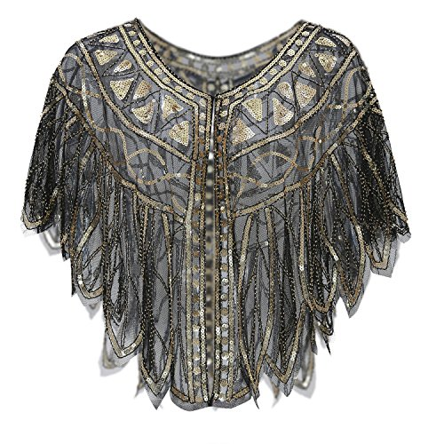 Metme 1920s Shawl Women Evening Wrap Vintage Sequin Cape for Gatsby Theme Party Prom -