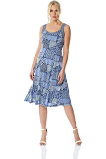 7ccb129bd54499 Roman Originals Patchwork Geometric Print Fit and Flare Dress - Ladies  Smart Casual…