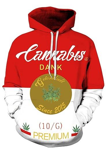Timemory Unisex Cannabis Printed Big Pockets Hoodie Sweatshirt XXXL Print #15