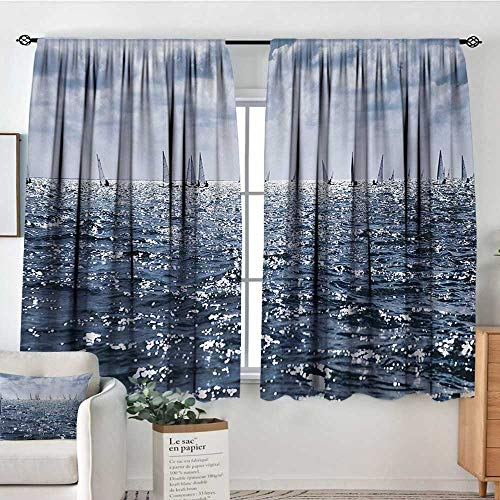 Mozenou Nautical Blackout Window Curtain Group of Sailing Boats in The Sea Competition Game Racing Sports Mediterranean Landscape Customized Curtains 63