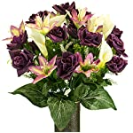 Yellow-Rose-with-Purple-Tiger-Lily-Artificial-Bouquet-featuring-the-Stay-In-The-Vase-Designc-Flower-Holder-MD2075