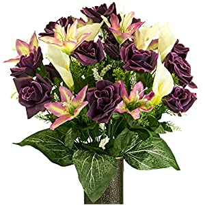 Rubys Silk Flowers Yellow Rose with Purple Tiger Lily, Artificial Bouquet, Featuring The Stay-in-The-Vase Design(c) Flower Holder (MD2075) 27