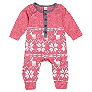 Mini honey Baby Girl Boy Christmas Romper Long Sleeve Bodysuit Snowflake Deer Pajamas Outfit Red 0-3 Months