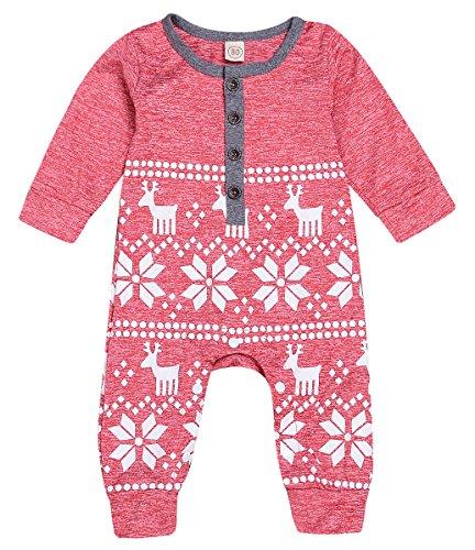 Mini honey Baby Girl Boy Christmas Romper Long Sleeve Bodysuit Snowflake Deer Pajamas Outfit Red 6-12 Months