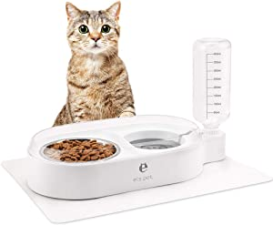 BINGPET Food and Water Bowls for Dog Cat - Detachable Double Bowls Automatic Water Dispenser Pet Stainless Steel Feeder Bowl with Food Mat No-Spill Cat Bowls for Puppies and Kitty