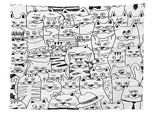 Mayan Costume Black Flag (vipsung Psychedelic Decor Tablecloth Cats with Costumes Bow Ties Humor Kitty Animal Childish Sketch Style Illustration Rectangular Table Cover for Dining Room Kitchen Black White)