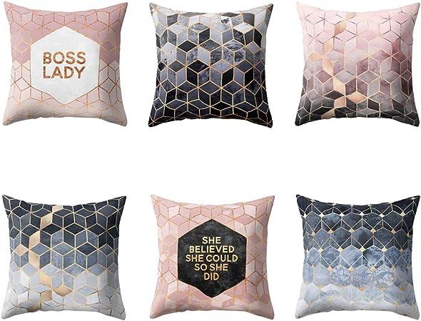 VLUNT 6 Pack Fundas de Cojines para Sofa, Estampados de Geometría Fundas Cojines Rectangulares 45x45 cm Cushion Cover: Amazon.es: Hogar