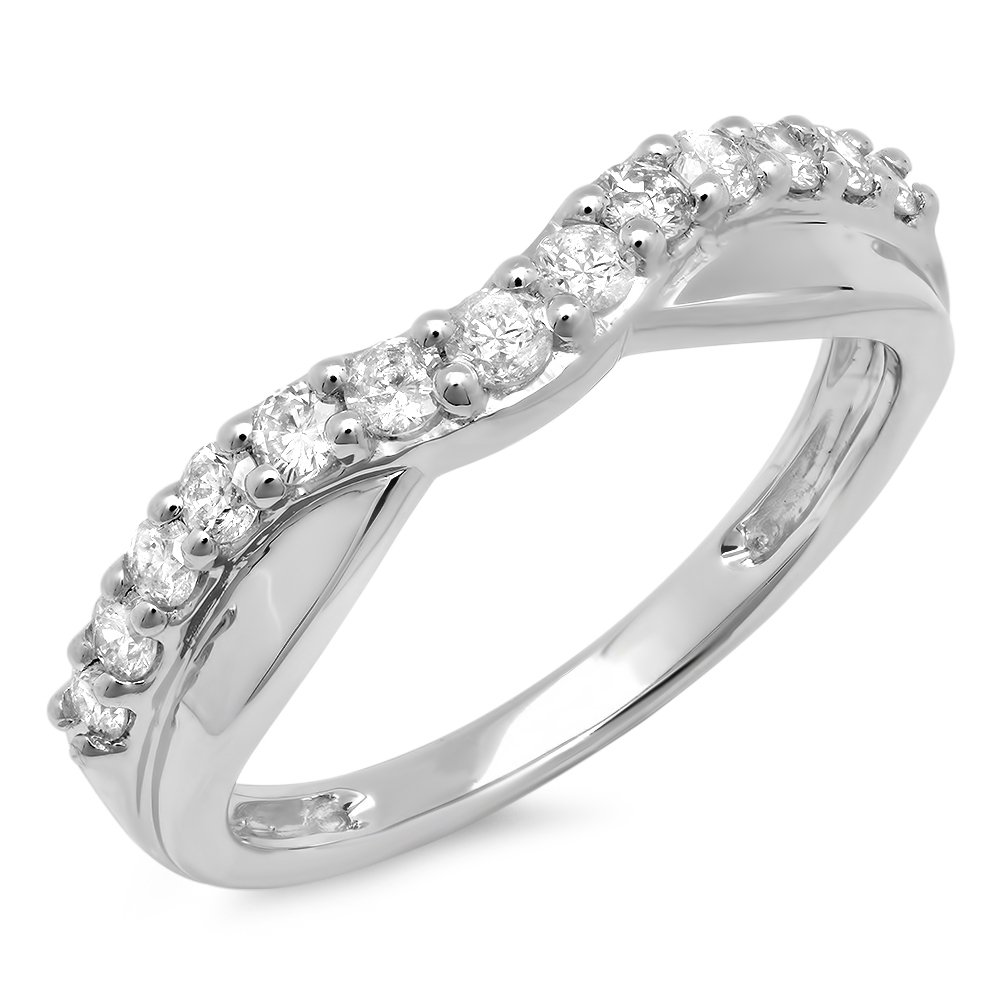 0.55 Carat (ctw) 14K White Gold Round Diamond Ladies Wedding Guard Contour Band 1/2 CT (Size 5)