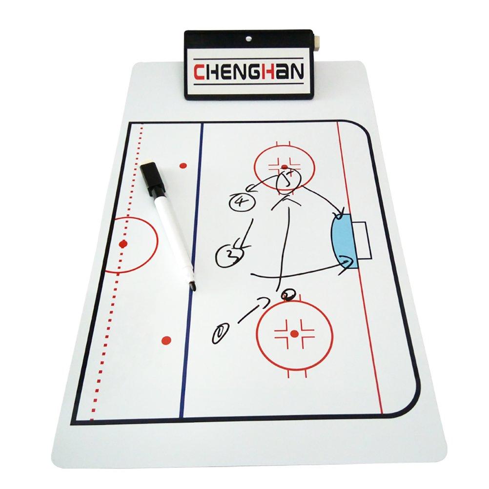 Firelong Hockey Coach Dry-erase Board Tactics Coaching Board Coach's Training Aid Equipmet Marker Board Whiteboard Clipboard