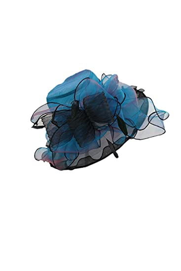 Womens Organza Sun Hats Wide Brim Ascot Race Church Tea Party Hat Blue One  Size  Amazon.ca  Clothing   Accessories df59b7280b77