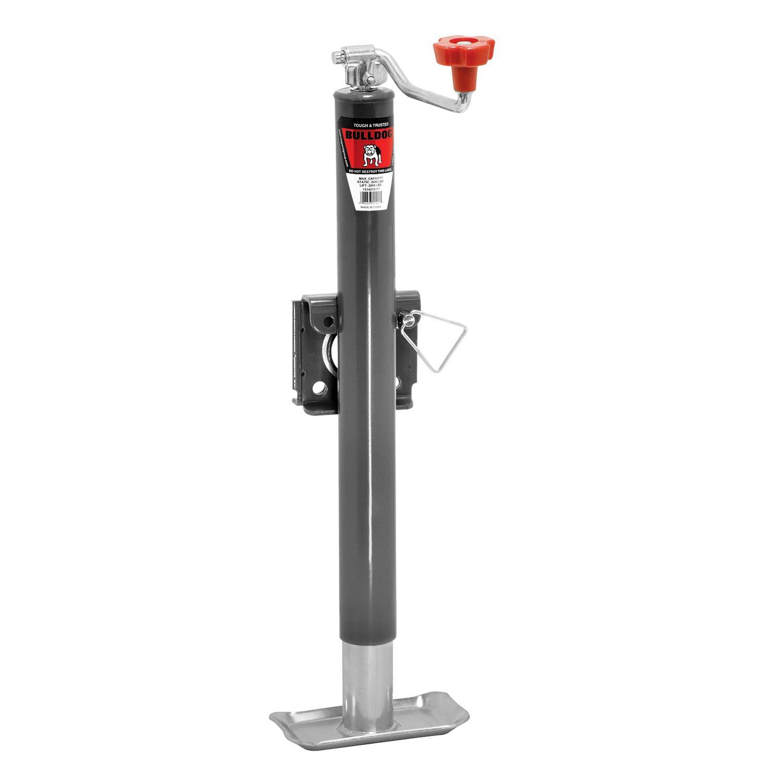 2,000 lbs. Lift Capacity Bulldog 1514210117 Gray Universal 15 Topwind Travel Weld-On Trailer Jack with Base