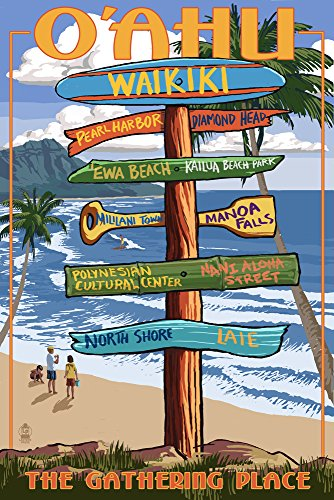 Waikiki, Oahu, Hawaii - Sign Destinations (with Nani Aloha Street) (9x12 Art Print, Wall Decor Travel Poster)