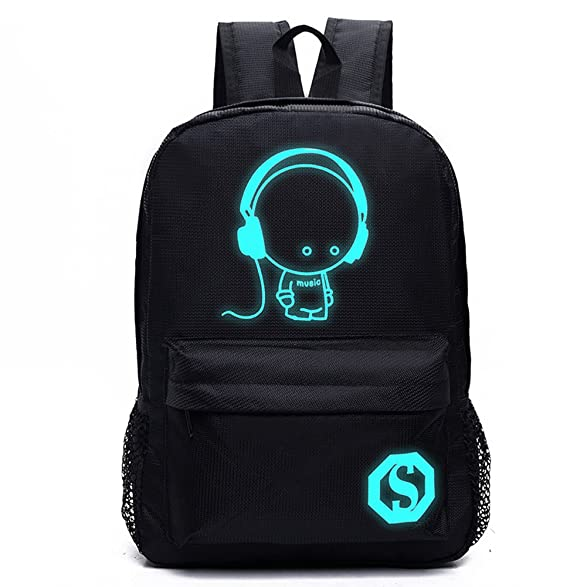 Amazon.com : Huluwa Backpack Luminous School Bag, Unisex Travel Double Shoulder Bag, Noctilucent Light Weight (Music, Large) : Sports & Outdoors