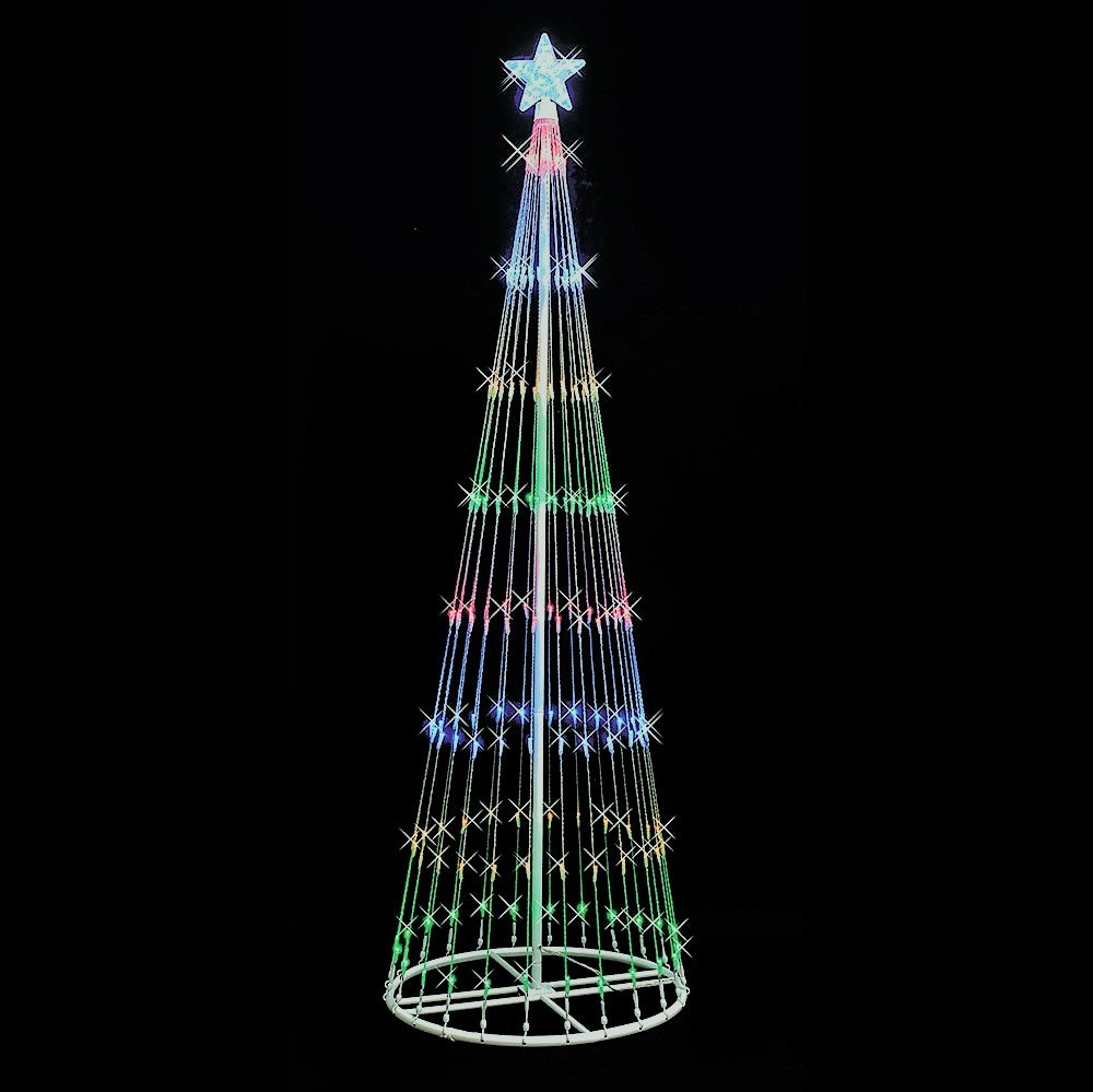 Artificial Christmas Tree. Fake Xmas Show Tree. It's Classic Shape. Looks Neat & Festively. Great For Indoor And Outdoor Use, With Stakes. by Artificial-Christmas-Tree