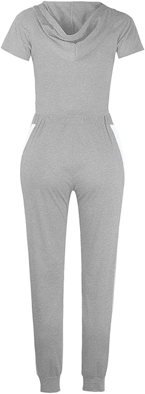 HAPCOPE Womens 2 Pcs Active Tracksuits Hooded Crop Top Stripe Jogger Pants Sports Set