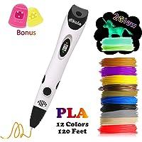 3D Pen with PLA Filament Refills - Dikale 07A【Newest Version】3D Drawing Printing Printer Pen Bonus 12 Colors 120 Feet PLA 250 Stencil eBook for Kids Adults Arts Crafts Model DIY, Non-Clogging