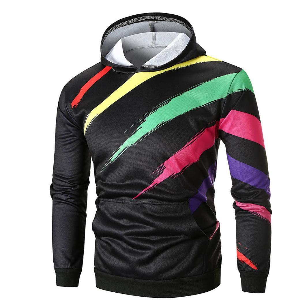Men's Sweatshirt Men's Long Sleeve Printed Hoodie Hooded Sweatshirt Top Outwear (M, Multicolor)