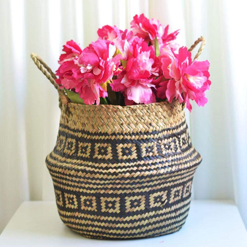 Brownrolly Panier de Ventre en jonc de mer Vase de Panier de Fleurs pour tressage Pique-Nique en Osier et Panier d/'/épicerie avec poign/ée