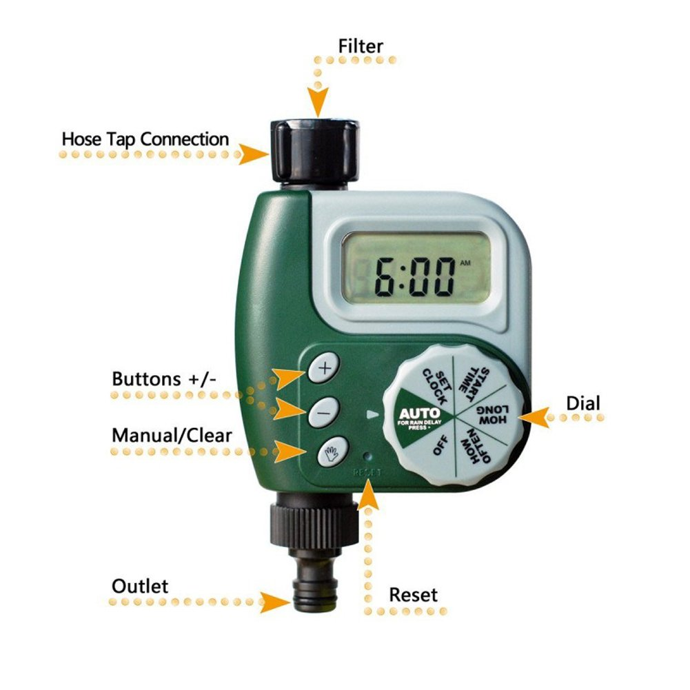 Alotm 1 Outlet Programmable Hose Faucet Timer, Automatic ON/OFF Digital Irrigation Controller Watering Timer, Easy Hose Connection, Battery Powered Watering System for Outdoor Garden by Alotm (Image #2)