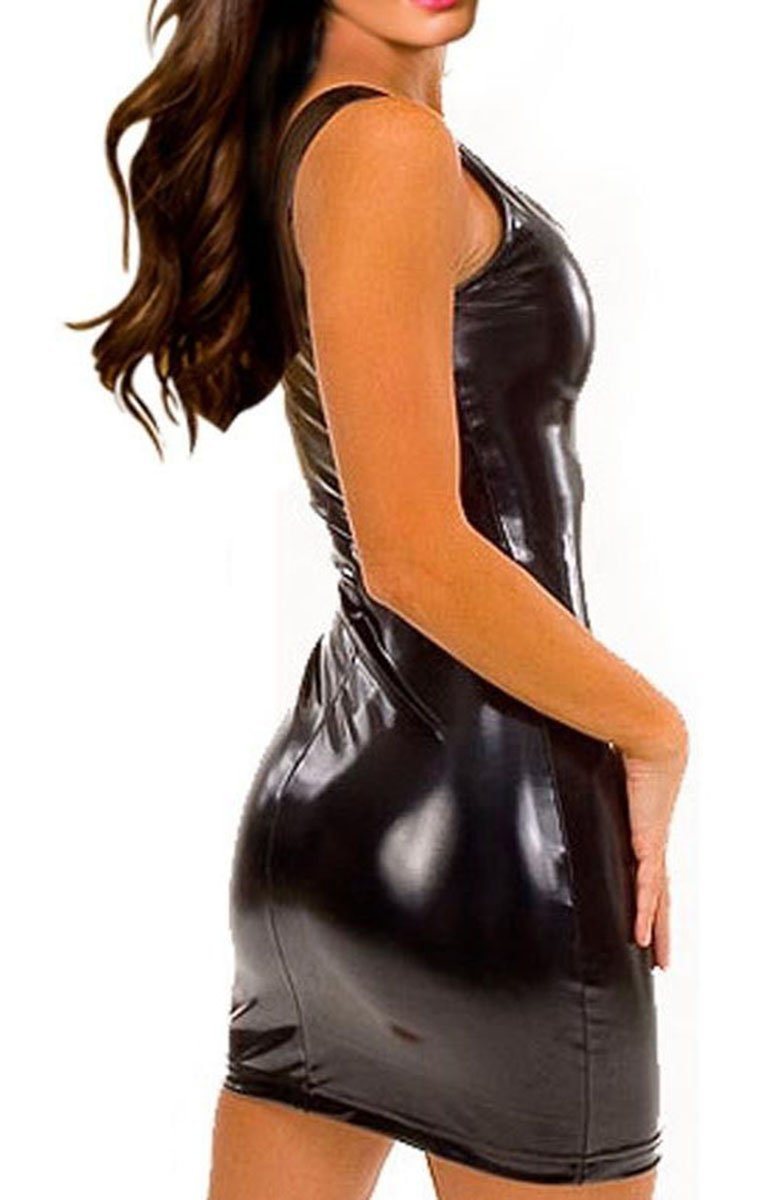 Gain Love Sexy Women's Plus Size Faux Leather Dress and G-string Lingerie Set (M) by Gain Love (Image #2)