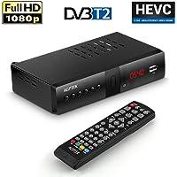 Sintonizador TDT HD 1080P DVB-T2, AGPTEK HD Receptor Televisión Digital Terrestre Soporta HEVC/H.265/AC3, Grabadora de TV Digital USB