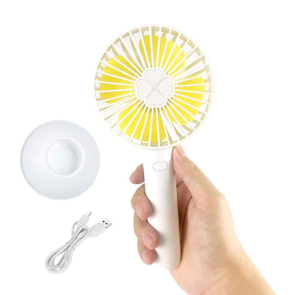 Mini Handheld fan Small portable fans for women kids, USB Rechargeable Quiet with 2000mAh powerful Battery, 3 Speeds Personal electronic Cooling blower for Home Office Outdoor Travel (white&yellow)