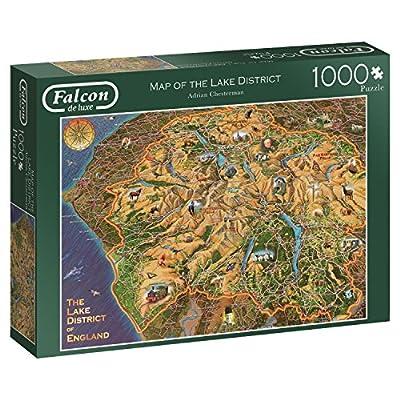Falcon De Luxe 11237 Map Of The Lake District Puzzle Da 1000 Pezzi Multicolore