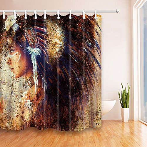 Joe&lory Native American Decor Shower Curtain, Blur Mystic Painting Of Young Indian Man in Ethnic Feather, Polyester Fabric Bathroom Home Decoration Curtain Set with Hooks,72inches