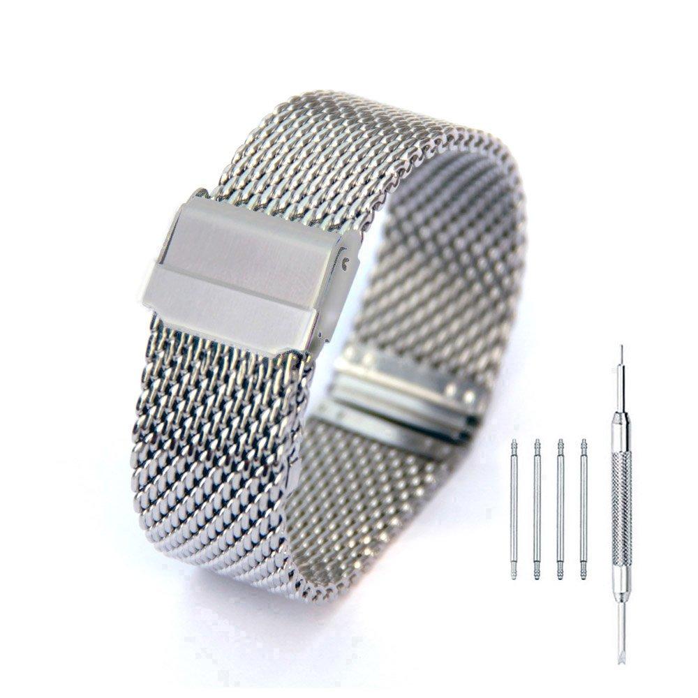 Milanese MeshステンレススチールWatch Band 18 – 24 mm折りたたみ式クラスプ2インターロック安全バックル腕時計ストラップ 18mm シルバー B078MY7YCH 18mm シルバー シルバー 18mm