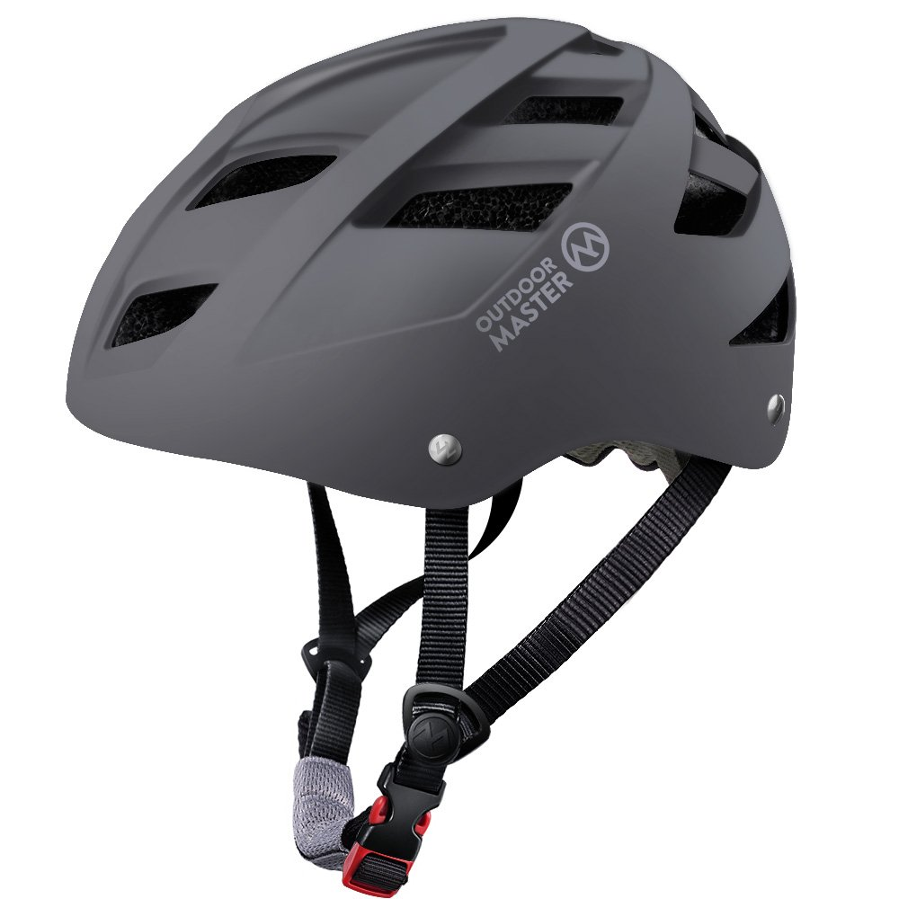 OutdoorMaster Multisport Helmet Child & Youth - Adjustable Size & Washable Lining - 21 Vents Ventilation System - M - Grey