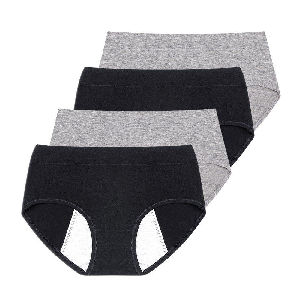 Phennie's Young Girls Menstrual Period Briefs Teen Girls No Leak Underwear Pack of 4 Black & Grey XL