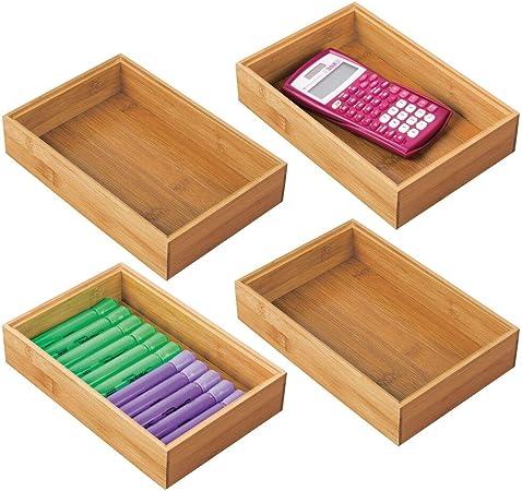 mDesign Juego de 4 cajas organizadoras para escritorio y lavabo – Caja rectangular de bambú – Organizador de madera de alta calidad para artículos de oficina y manualidades – color natural: Amazon.es: Hogar