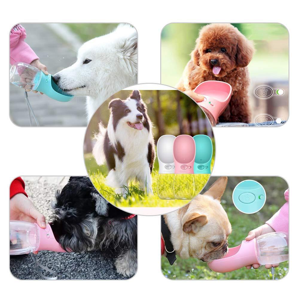 VOANZO Botella de Agua para Perros Botella de Agua para Mascotas con ABS Botella de Agua para Viajar con Alimentos de Grado alimentario para Perros peque/ños Blanco