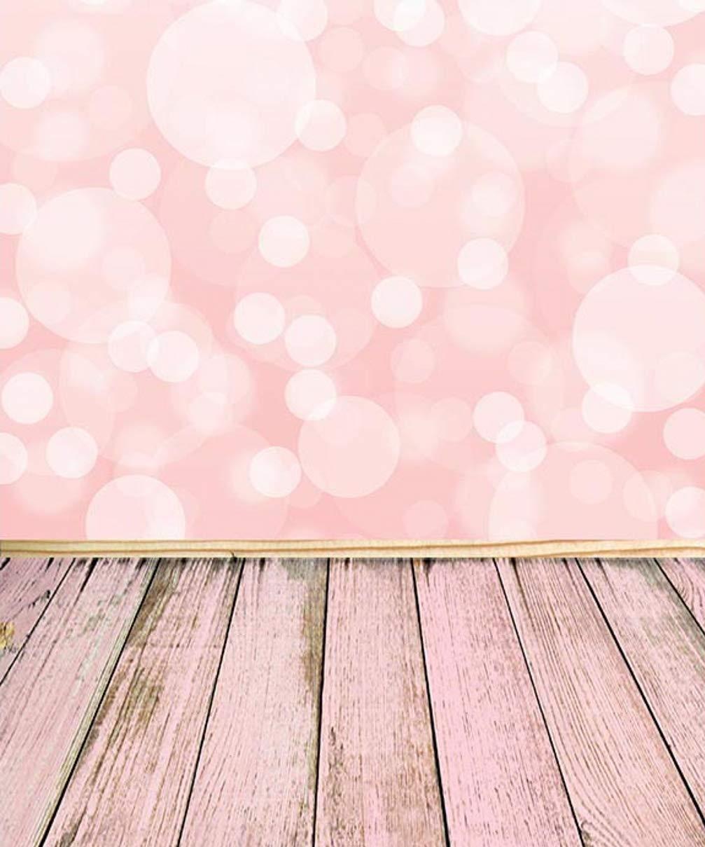 Abstract ピンク Bokeh 背景 写真スタジオ ブライトホワイト ヘイロー 木製 床 Blurry フォトブース 背景 8x10フィート   B07GD9N1V7