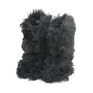 Women's Faux Fur Black Fringes Indoor Slipper Boots