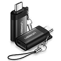 2 Unidad Adaptador USB C a USB 3.0 OTG, UGREEN Tipo C a USB A para Macbook Pro 2017/ 2016, Google Nexus 5X / 6P, Samsung Galaxy note9/ S9/S8 / A3 / A5 / A7/ J6, Huawei P20 P20 Pro /P10/ P9/ Mate20/ Mate10, OnePlus 3T/ 5T (2 Pack)