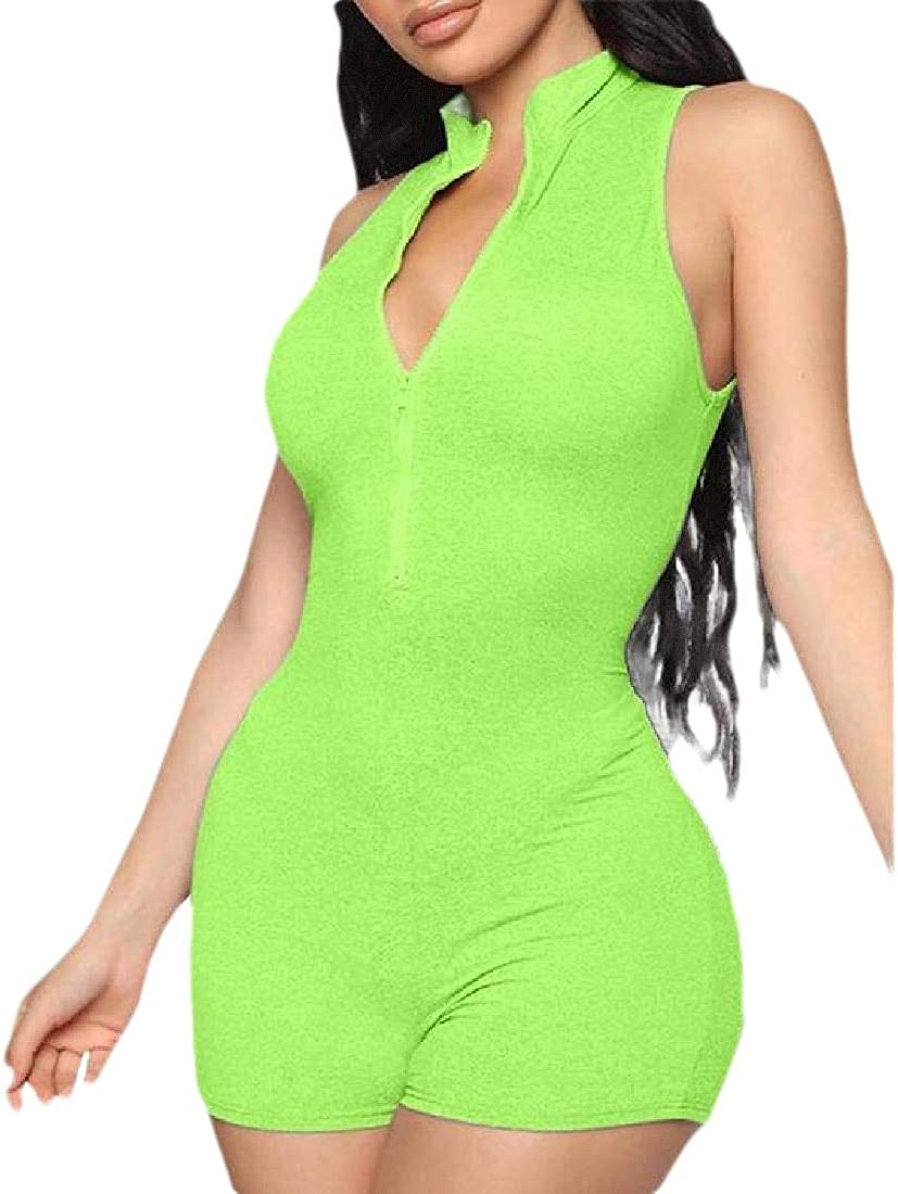 Xswsy XG Womens V-Neck Bodycon Jumpsuit Sleeveless Front Zipper Summer Clubwear Rompers