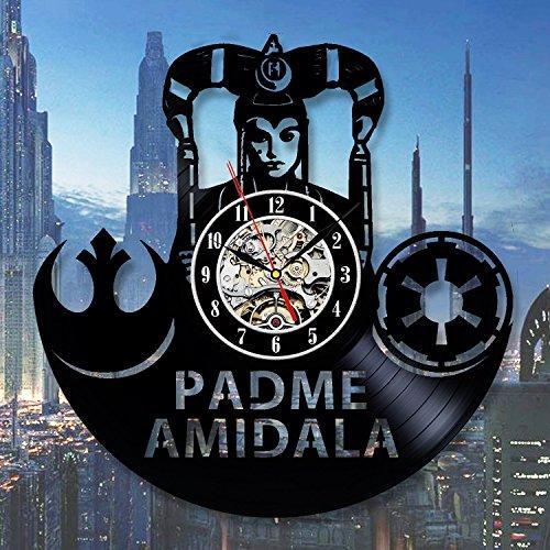Padme Amidala Star Wars Fan Art Wall Clock Decor Vintage Black Vinyl Gift Room Wedding Party ()