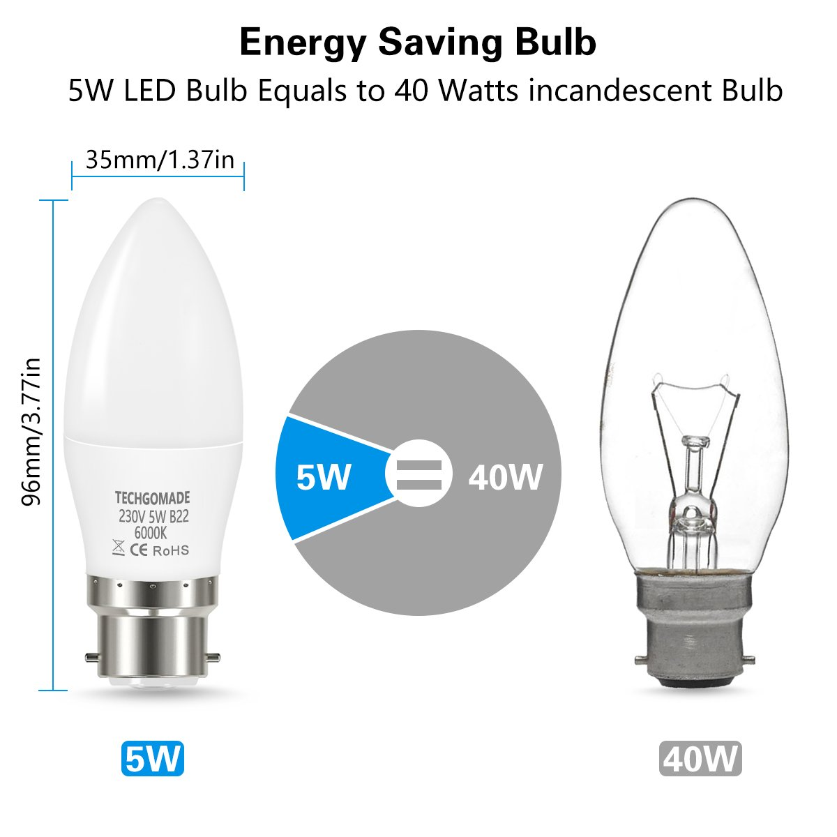Techgomade B22 Led Candle Light Bulbs 5w 40w Incandescent Bulb Diagram Equivalent 6000k Day White Candelabra Non Dimmable 6 Pack Lighting