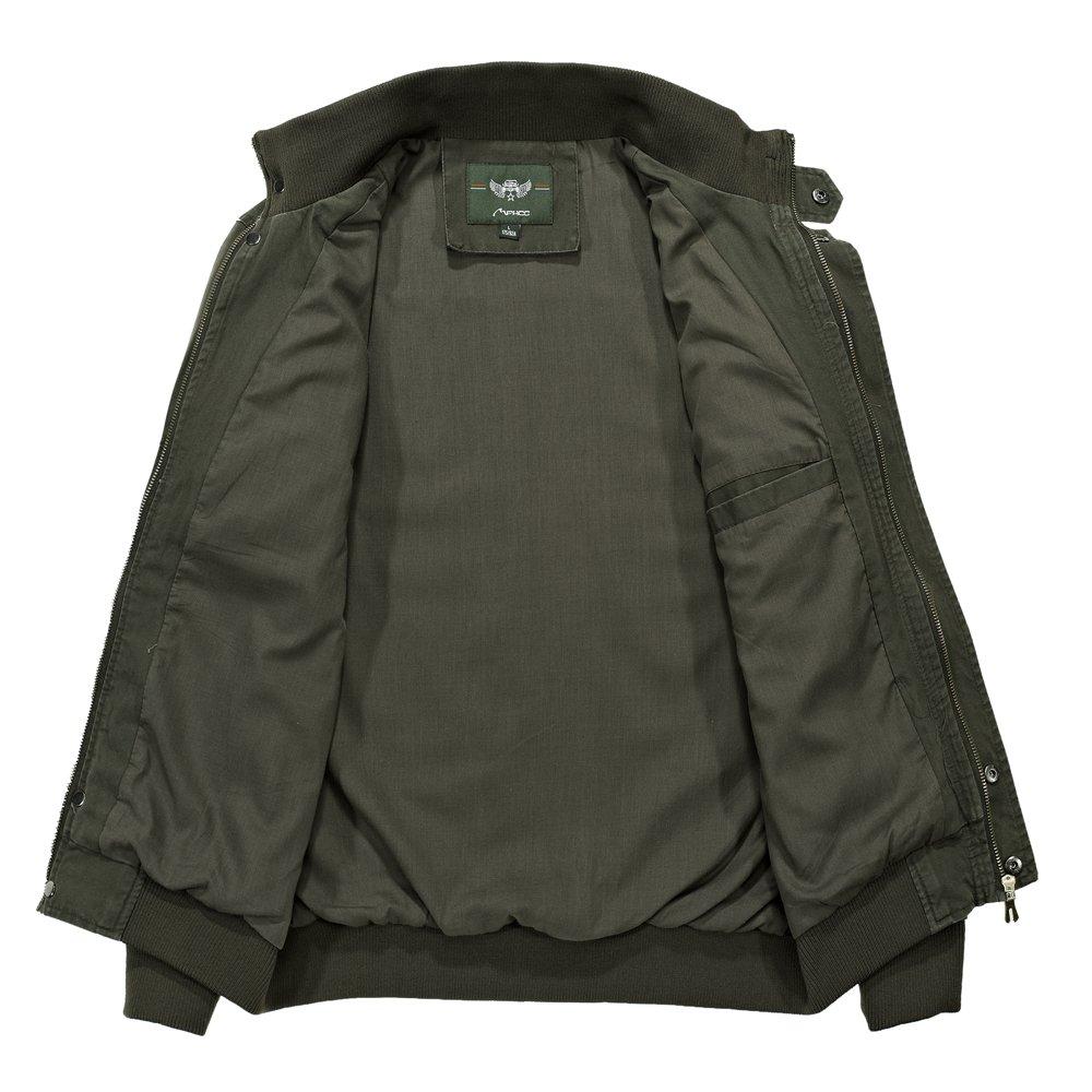RongYue Mens Cotton Stand Collar Lightweight Military Windbreaker Jacket