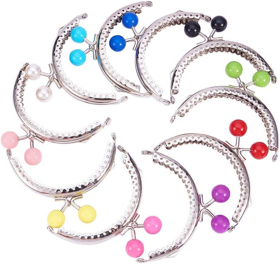 PandaHall 10 Cierres de Hierro para Monedero de Mujer DIYKiss Clasp Locks con Perlas acrílicas redondasplatinocolor mixto68 x 85~87 x 11 mmorificio:1,5 mm10 Unidades/Juego. Platino 68x85~87x11mm