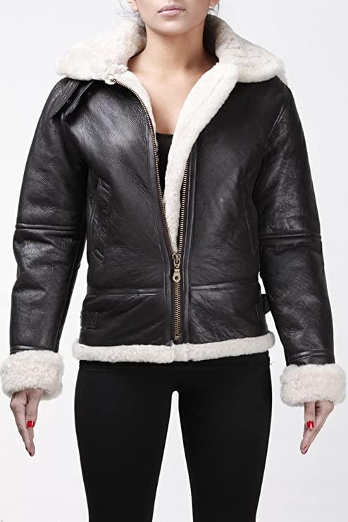 Womens Aviator Hooded Sheepskin Flying Brown Leather Jacket with Cream Fur at Amazon Womens Coats Shop