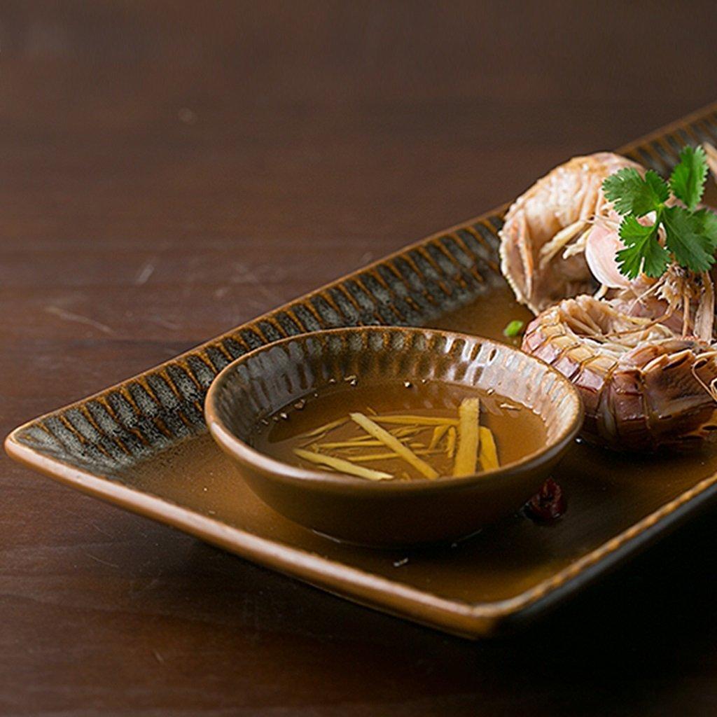 He Xiang Ya Shop Ceramic plate tray brown fish plate soup plate home fruit plate dishware by He Xiang Ya Shop (Image #4)