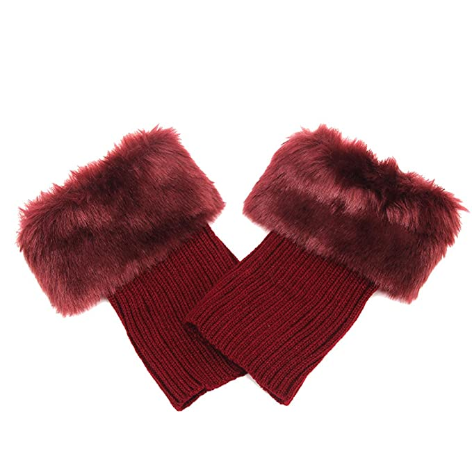 4 opinioni per Butterme Faux Fur Leg accessori calze stivali invernali donne Scaldamuscoli Knit