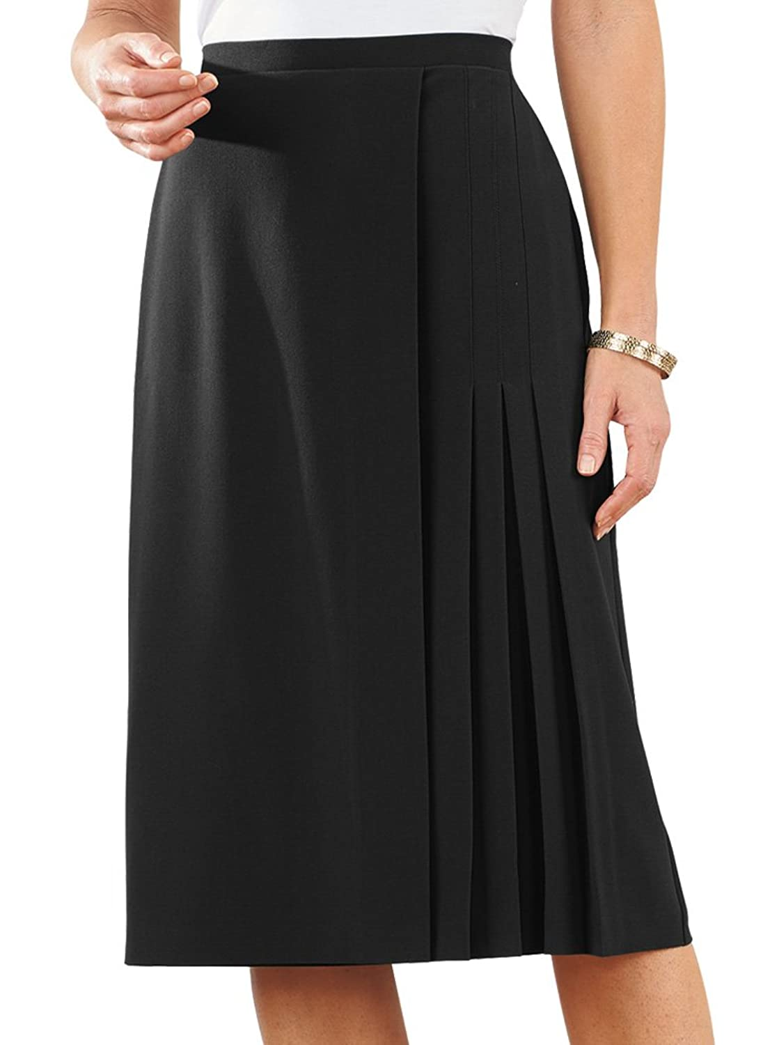 1930s Style Skirts : Midi Skirts, Tea Length, Pleated Faux Wrap Skirt $31.99 AT vintagedancer.com