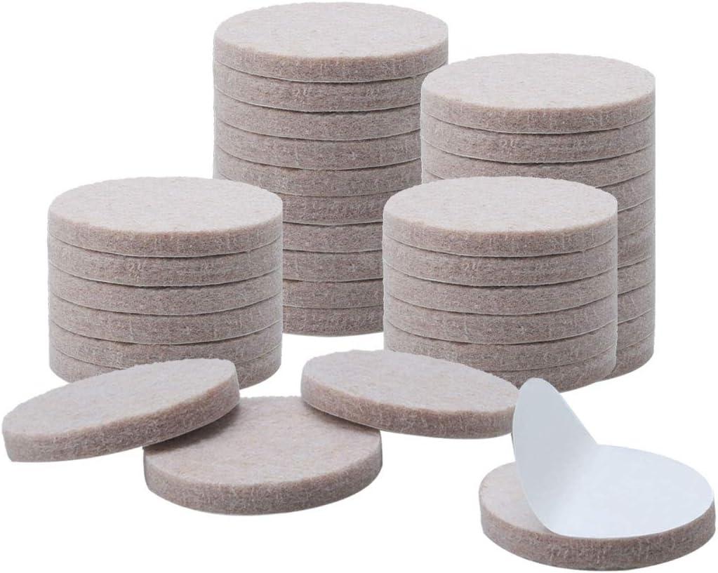 "uxcell 36pcs Furniture Pads Round 1 1/4"" Self-stick Non-slip Anti-scratch Felt Pads Cabinet Closet Feet Floor Protector Beige"
