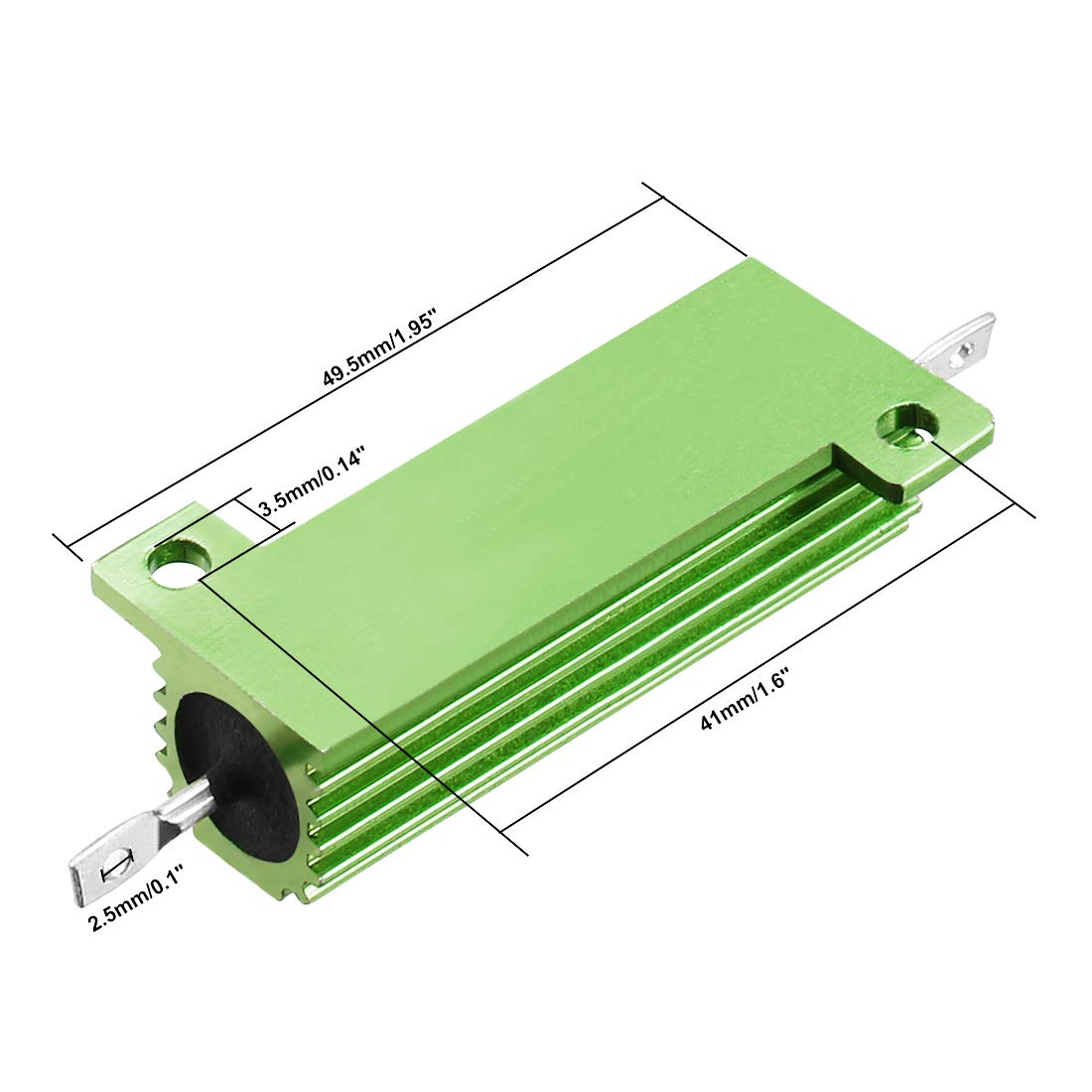 sourcingmap 50W 0.1 Ohm 5/% Aluminum Housing Resistor Screw Tap Chassis Mounted Aluminum Case Wirewound Resistor Load Resistors Green 2 pcs